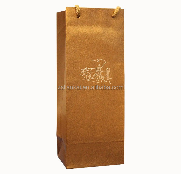 Custom High Quality Fancy Paper Tube Wine Bottle Bag Wine Packaging Bag with Rope Handle