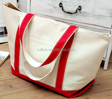 New arrival canvas shopping bag,square bottom bag with zipper,cotton shopping bag