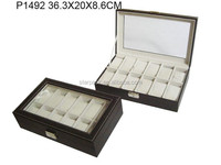 12 Slots Leather Wrist Watch Packaging Display Gift Box Case with Clear Window P1492