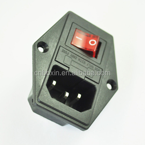 wholesales IEC 320 C14 male connector switched socket with fuse,socket plug with power switch