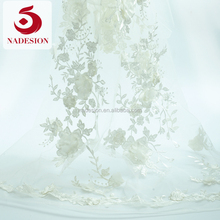 New arrival 3d flower white tulle lace fabric/lace 3d floral white/3d embrooidered lace fabric