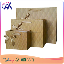 Earth color gift paper bag with velcro and pasted bow tie in good quality