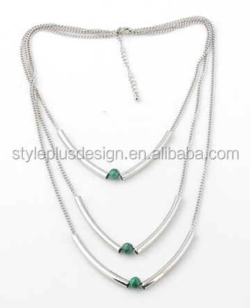 N72167K01 Sterling silver jewelry rhinestone chockers three layers silver emerald necklace
