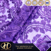 purple color mesh embroidery fabric for dress