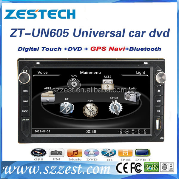 Shenzhen Manufacturer HD Touch screen double din Car stereo for universal cars car head unit with gps dvd usb sd swc 3g A8 chip