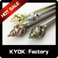 KYOK High quality double metal curtain rod windows curtain rods ,curtain pole with rotating rod