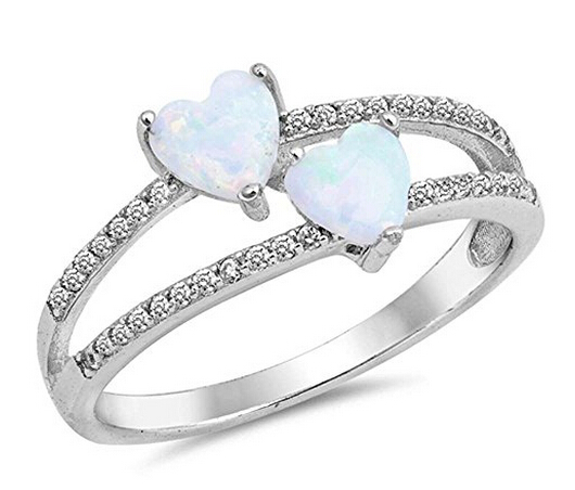 2 Heart Shape Lab Created White Opal Rings with Cubic Zirconia Sterling silver