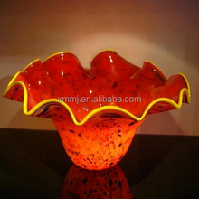 Wholesale Hand made art decorativered bowls glass blowing
