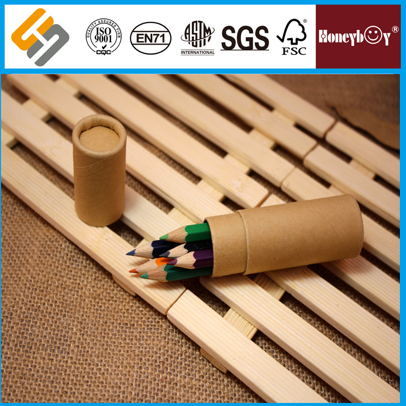 Kraft Paper Barrel Crayons 6PCS Mini Drawing Colour Pencils For Kids