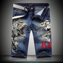 China Factory Quality Tiger Printed Denim Short Jeans Mens Y037