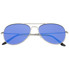 Classic Teardrop Full Metal Flash Mirrored Flat Lens Aviator Sunglasses