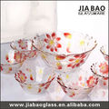 Hot sale colored frosted glass bowl 7pcs glass salad bowl set