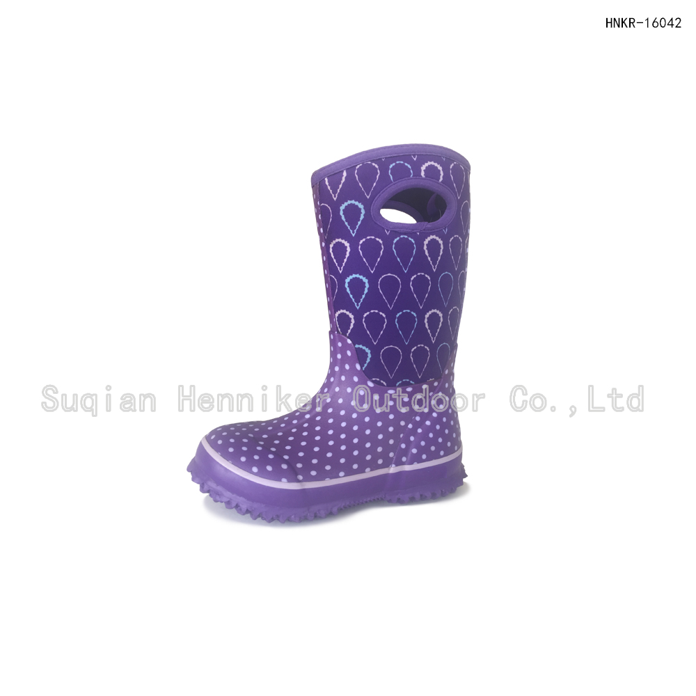 Kids' polka dots and raindrops pattern cold weather boots