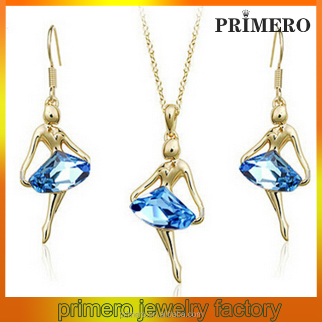 high quality Ballet Girl Crystal pendant Necklace Earrings Set dinner dress accessories earring necklace jewerly set