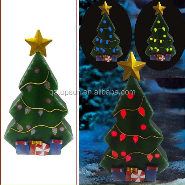 Outdoor metal Christmas trees led solar light ornament