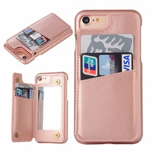 2017 hybrid protective mobile phone shell For iPhone 7 6 plus case Leather cover wallet with credit card slot makeup mirror case