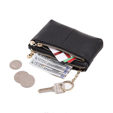 Women Genuine Leather -Zip- Mini Coin Purse With Key Ring Triple Zipper Card Holder Wallet