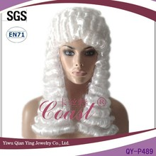 cheap curly synthetic barrister wigs white
