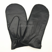 Large size soft and durable lambskin mens shearling fur lined leather gloves mitten