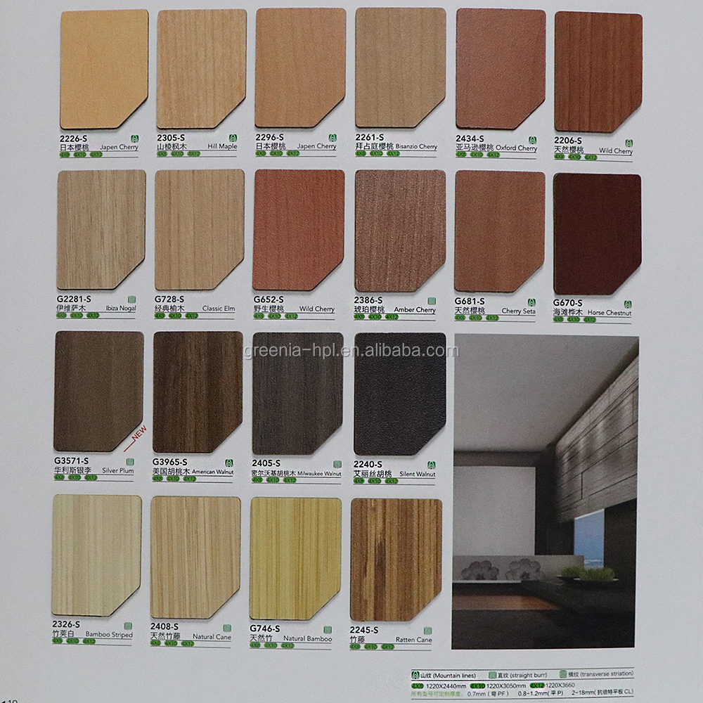 Greenia laminate cabinet and door edge banding/formica wall panels/formica