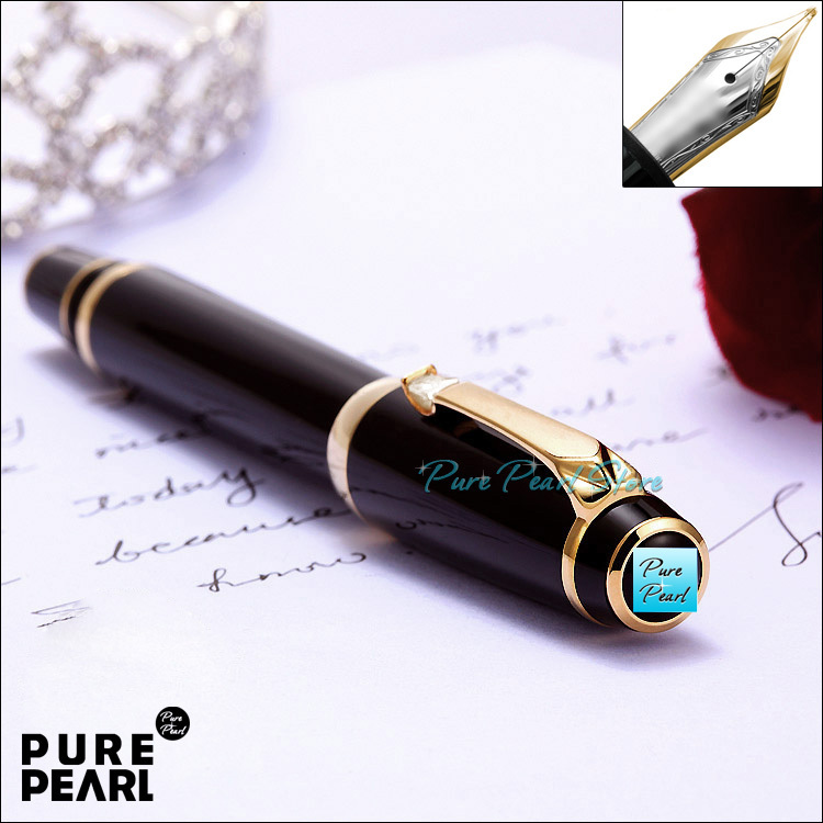 4 COLOR STONE MB-BOHEME Super AAA Office School Stationery Golden Clip Pure Black Fountain Pen (Through The Red Dot Test)