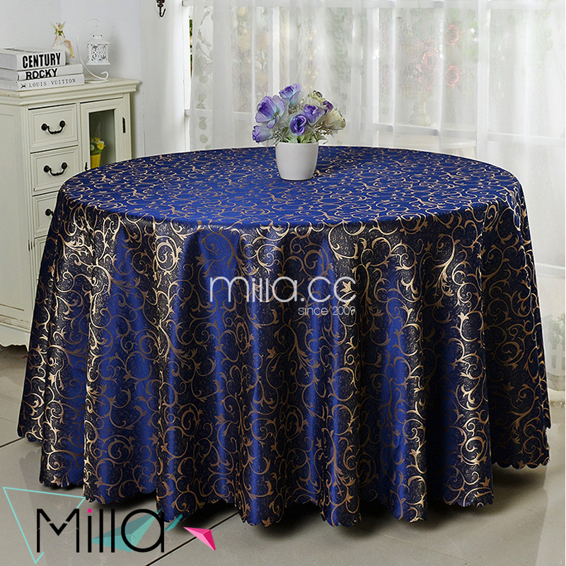 Factory wholesale 120inch round polyester jacquard damask table cloth for wedding party