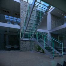 double stringer glass stairs with triple laminated tempered glass tread