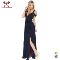 2016 Summer New Style Crinkle Deep V-Neck Full Length Party Dress For Women, Adult Lady Girls Party Dress