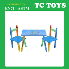 wooden crayon shape school desk and chair set TC-D008