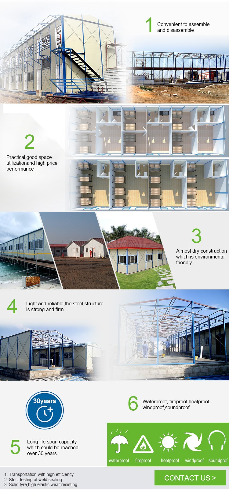 Yaoda beautiful prefab steel frame T house design