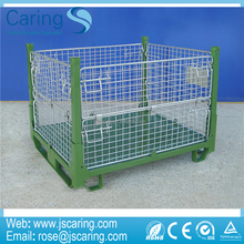 Wholesale Double Layers Folding Heavy Duty Galvanized Storage wire mesh pallet cage