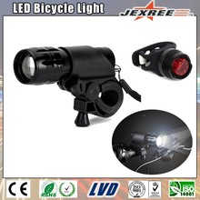 JEXREE Combo1 Hot Selling Cheap Aluminum Alloy Zoom CREEE XM-L T6 LED Bike Front and Rear Light