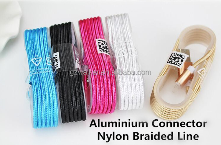 2016 hot seling high quality alloy nylon braided usb charging wire cable for ipad iphone 6 6s 6s plus 6 plus