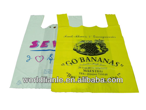 HDPE T-shirt plastic bags grocery t-shirt bags