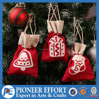 red mini small christmas fabric gift bag promotional drawstring bag for tree decorations