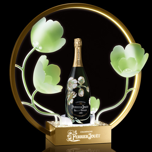 LED Circle Metal Ring Perrier Jouet Champagne Bottle Presenter with Flower Glorifier <strong>Display</strong>