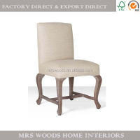 French style antique upholstered oak wood dining chair with cross bar