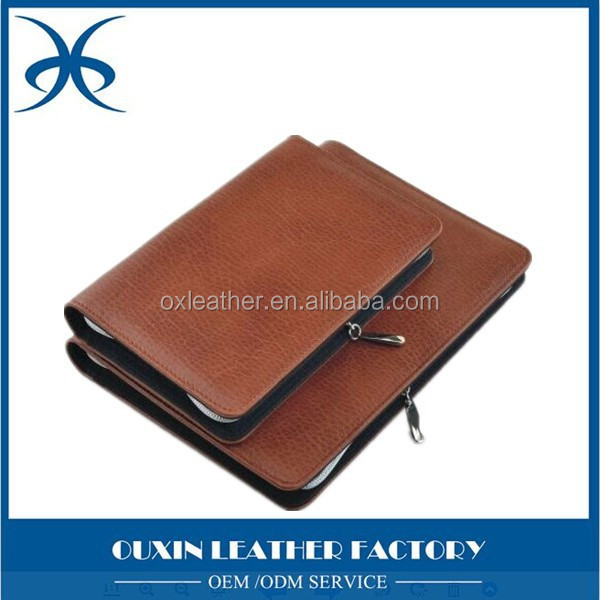 convient office leather noteboowith calculator multifunctional memo book with ruler data bag