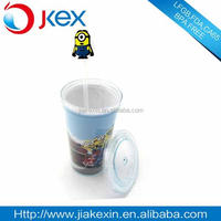 Plastic double wall insulated coffee cup with straw