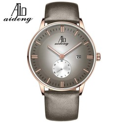Top-quality Stainless Steel Case Back Watch Men's Leather Band Classic Quartz Watches