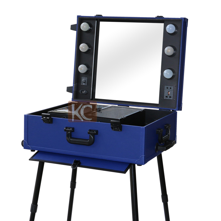 New design professional Aluminum makeup case with lights, mirror, trolley and 4 legs