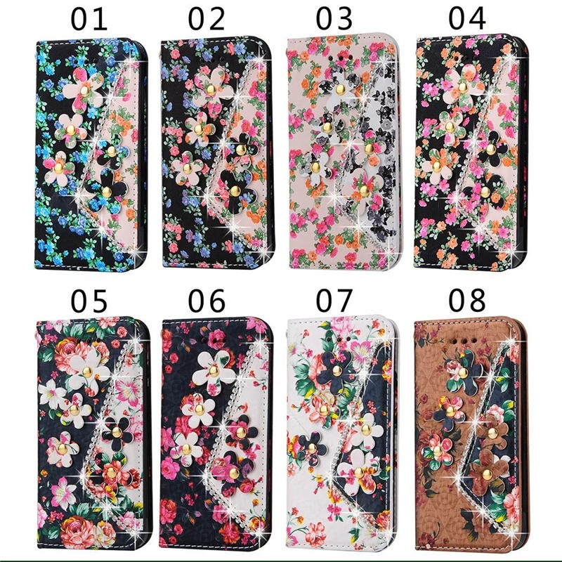 for iphone 7 Beautiful Fashion Flower Flip Leather Case , folio case for iphone 7