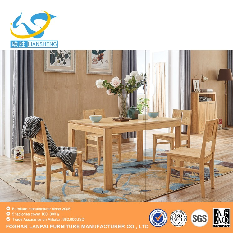 Latest design modern square antique nature/walnut color wooden dining table