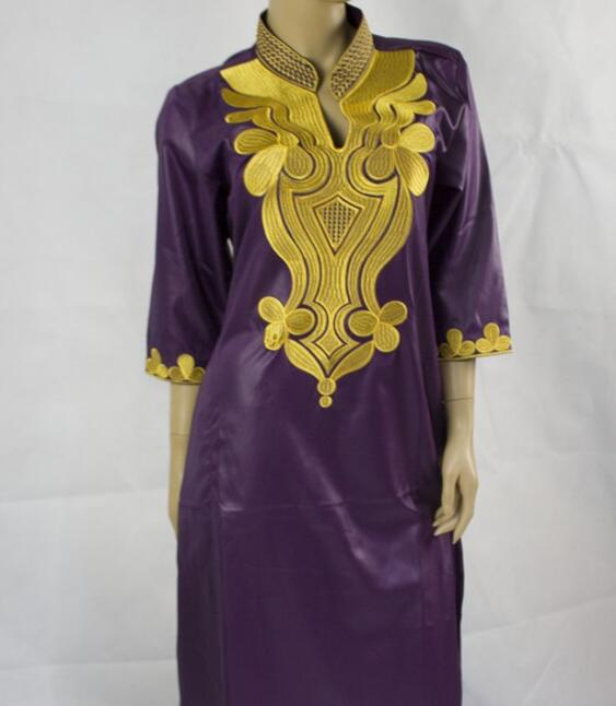 2017 new design african bazin clothes bazin riche long dress in purple
