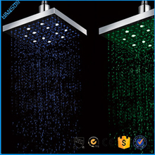 3 color changing Copper Bathroom Top Square Rain LED Shower