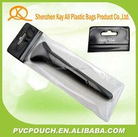 Soft makeup tools EVA clear PVC zipper bag with hook