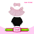 Summer Baby Off Shoulder Crop Top Shirts +Bloomers+Headband 3 pcs Cotton Crop Top