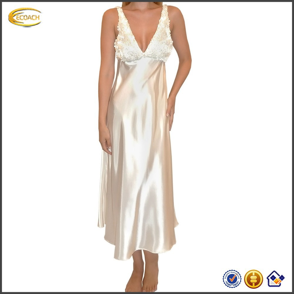 FLORA GOLD Bellflower Charmeuse sexe womens long satin Nightgown