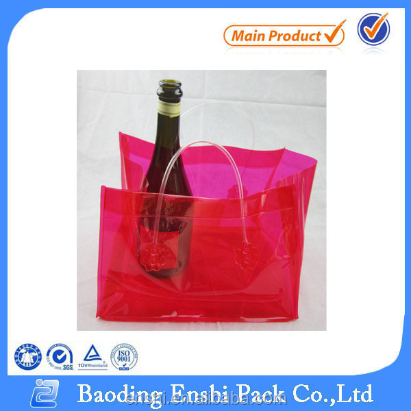 Clear vinyl pvc red wine packing bag transparent pvc wine packaging bag