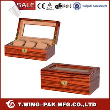 High-end velvet wooden luxury watch collection box for three watches